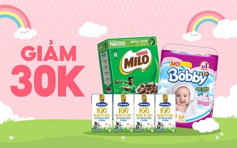 Bỉm sữa giao ngay giảm 30k