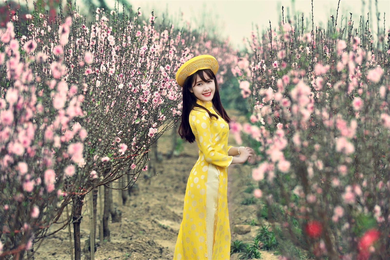 Kết quả hình ảnh cho Chụp ảnh Tết ở Vườn Đào Nhật Tân