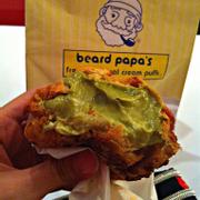 Tên món: Bánh su Cookie Trà xanh Mô tả: bánh su cookie, vị trà xanh. Giá: 34.000 VND