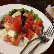 Tomato mozzarella black olive salad
