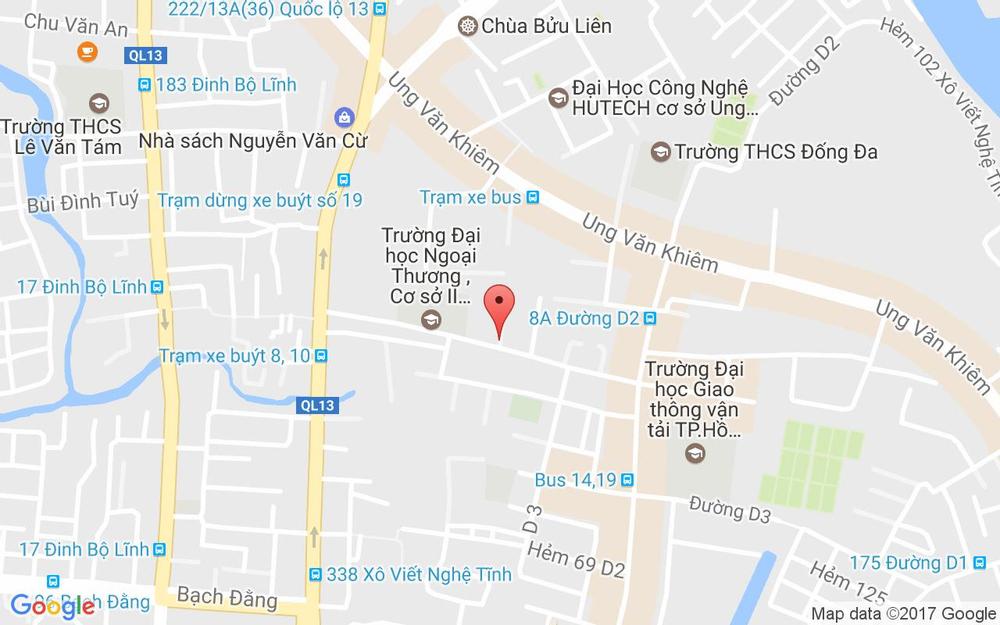 Vị trí bản đồ 25 - 27 - 29 Đường D5, P. 25 Quận Bình Thạnh TP. HCM
