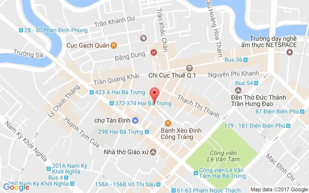 Vị trí bản đồ 72D Nguyễn Hữu Cầu, P. Tân Định Quận 1 TP. HCM