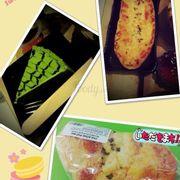 Bánh cheesecake trà xanh và bánh mì bơ tỏi