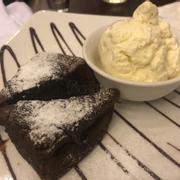 Brownie and vanilla ice cream