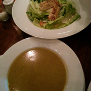 Ceasar Salad and Lobster Soup