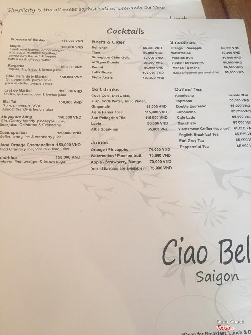 Ciao Bella - Món Ý ở Quận 1, TP. HCM | Bình Luận, Review, Nhận xét, Kinh  nghiệm |Ciao Bella - Món Ý | Foody.vn