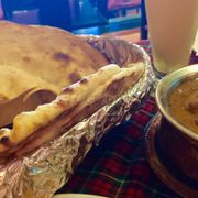 Roti, cheese nan and beef curry