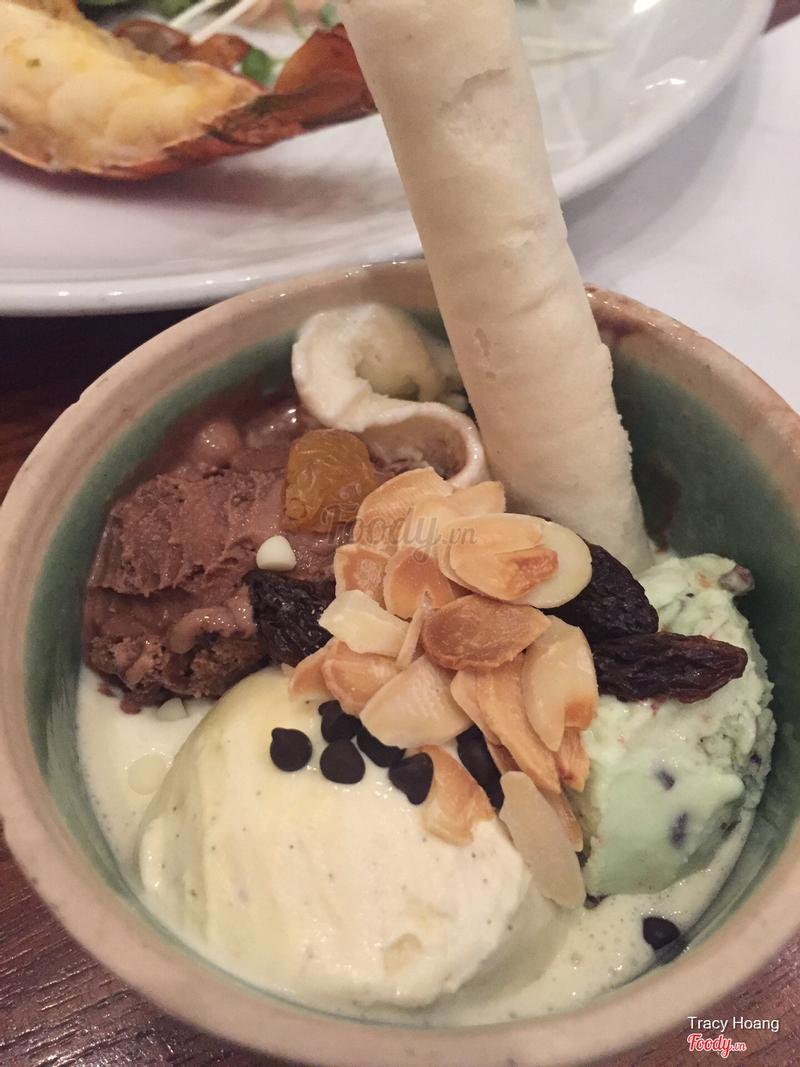 Kem socola, kem dừa, mint, vanila