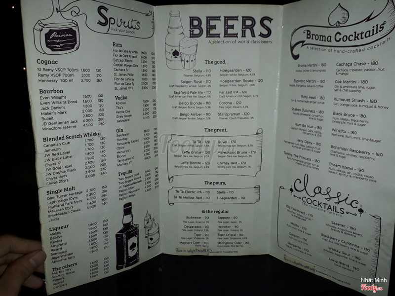 Menu drinks