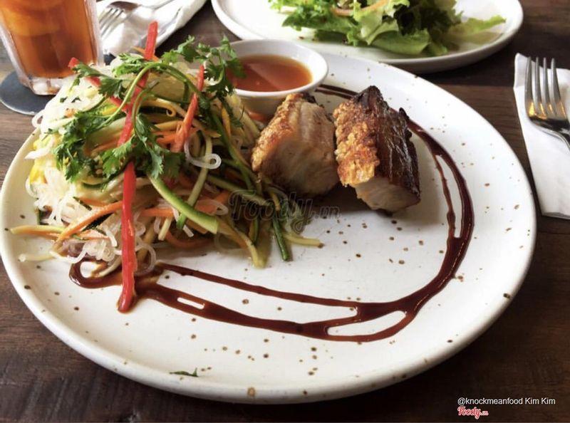 Crispy roasted pork belly with glass noodle salad