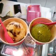 Green tea + almond macaron