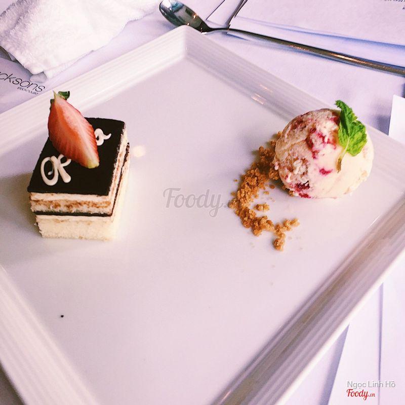 Opera cake with ice cream