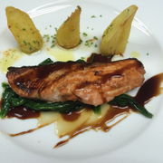 Glazed salmon with spinach & garlic potato