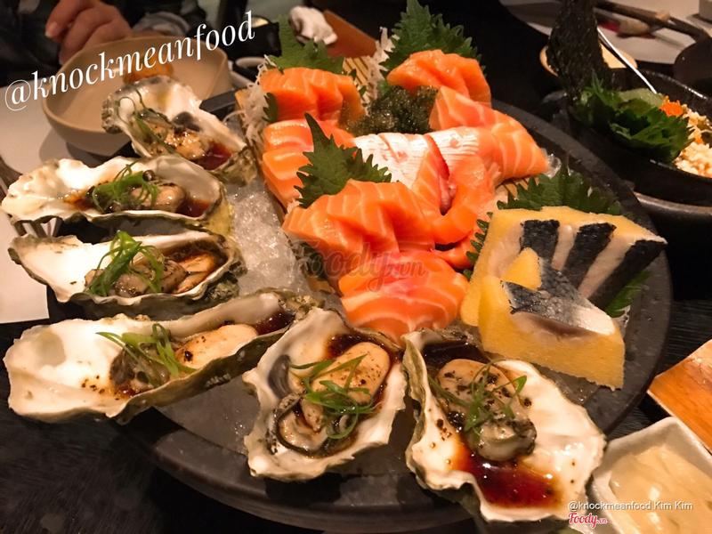 Hàu + cá hồi sashimi + cá trích ép trứng