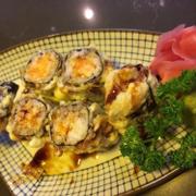 Tempura Salmon Sushi w/ Sweet (soy?) Sauce