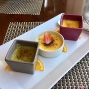 Creme brulee with thyme, saffron and pistachio