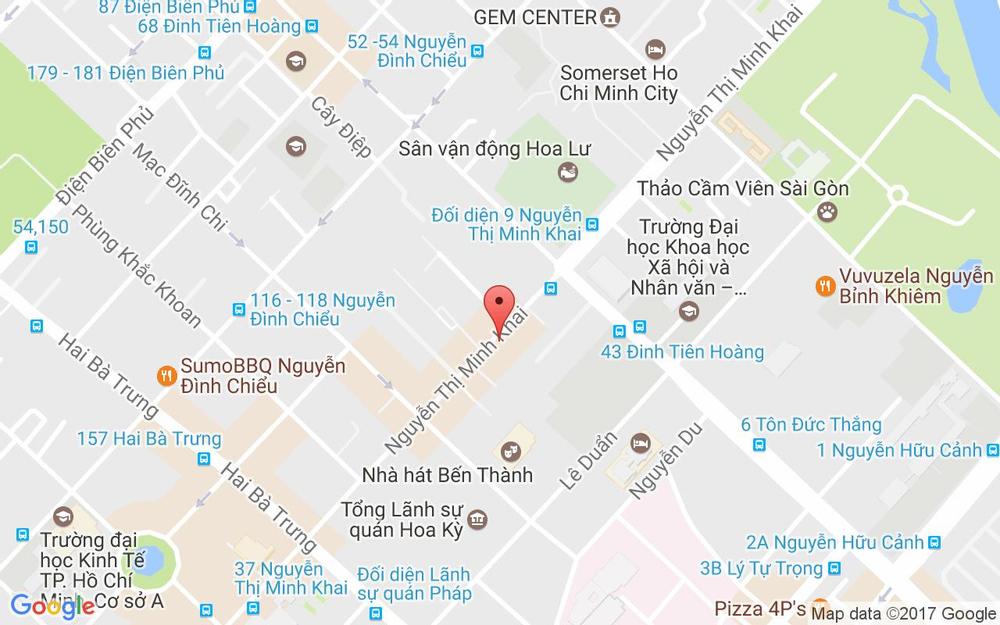 Vị trí bản đồ 15 Nguyễn Thị Minh Khai, P. Bến Nghé Quận 1 TP. HCM