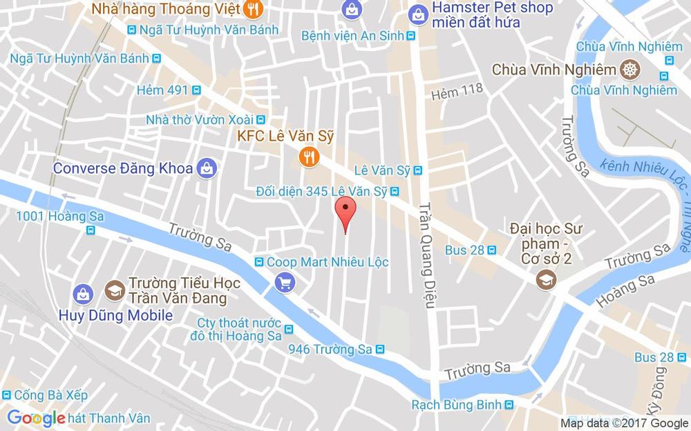 Vị trí bản đồ 351/28 Lê Văn Sỹ, P. 13 Quận 3 TP. HCM