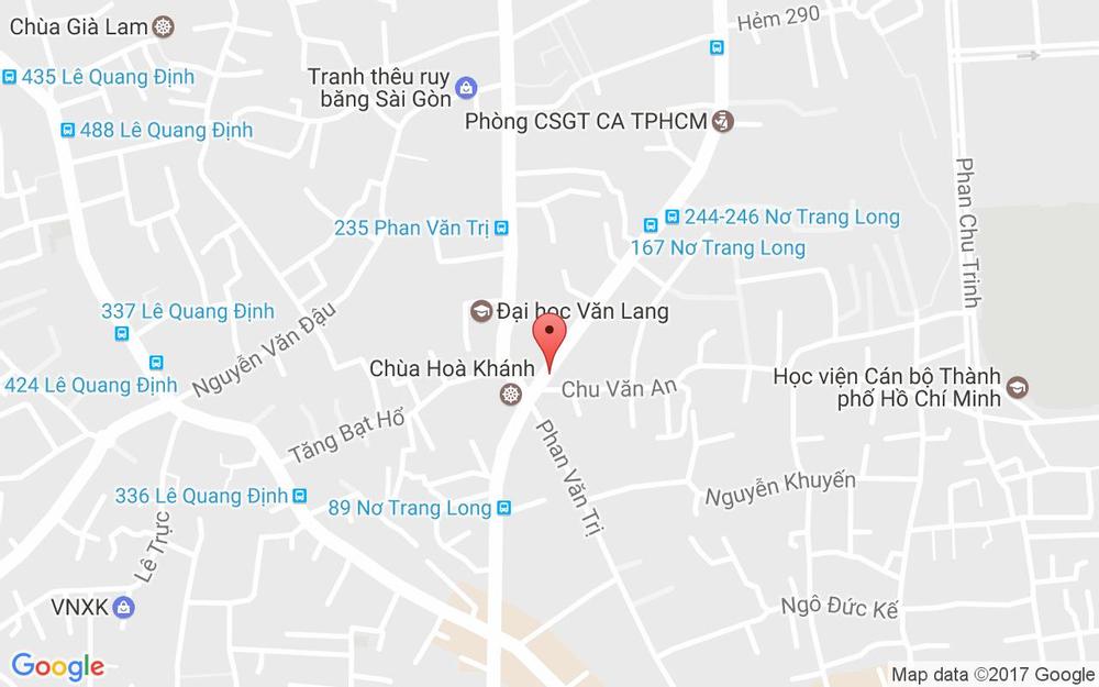Vị trí bản đồ 170D Nơ Trang Long, P. 12 Quận Bình Thạnh TP. HCM