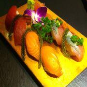 Tuna, Salmon, Aji sushi
