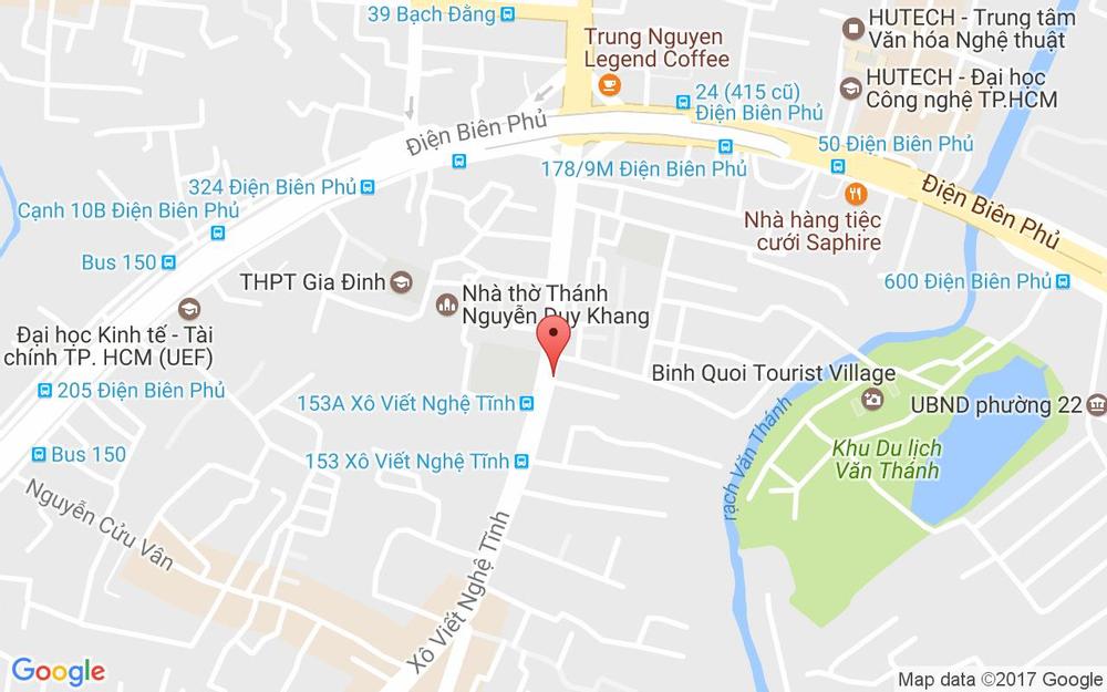 Vị trí bản đồ 206 Xô Viết Nghệ Tĩnh, P. 21 Quận Bình Thạnh TP. HCM