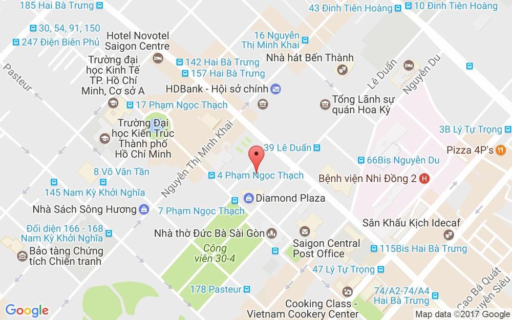Vị trí bản đồ Tầng 3 Diamond Plaza, 34 Lê Duẩn, P. Bến Nghé Quận 1 TP. HCM