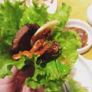 rau + thịt bò + tỏi+ kimchi