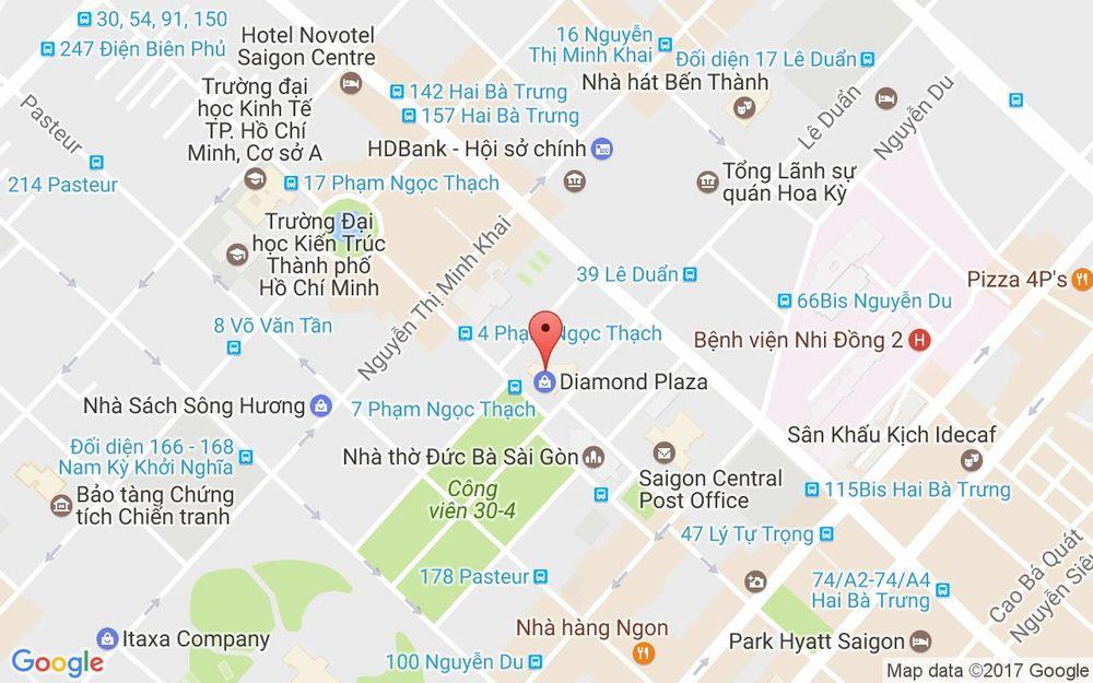 Vị trí bản đồ Tầng 5 Diamond Plaza, 34 Lê Duẩn, P. Bến Nghé Quận 1 TP. HCM