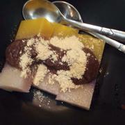 Thạch vs đậu đỏ và bột đậu nành