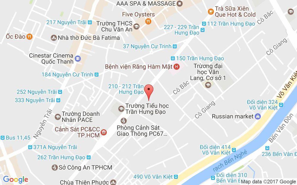 Vị trí bản đồ 331C Trần Hưng Đạo, P. Cô Giang Quận 1 TP. HCM