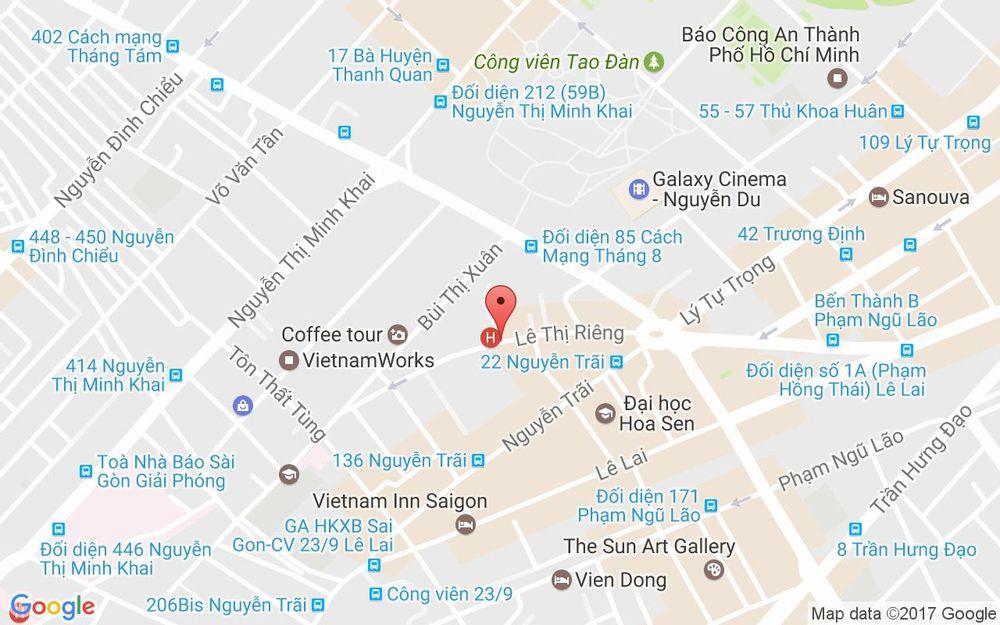 Vị trí bản đồ 100 Lê Thị Riêng, P. Bến Thành Quận 1 TP. HCM