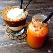 Caphe cốt dừa và cam cà rốt