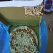The first order, lots of mushrooms and half of it is on the box. Where's the pepperoni?