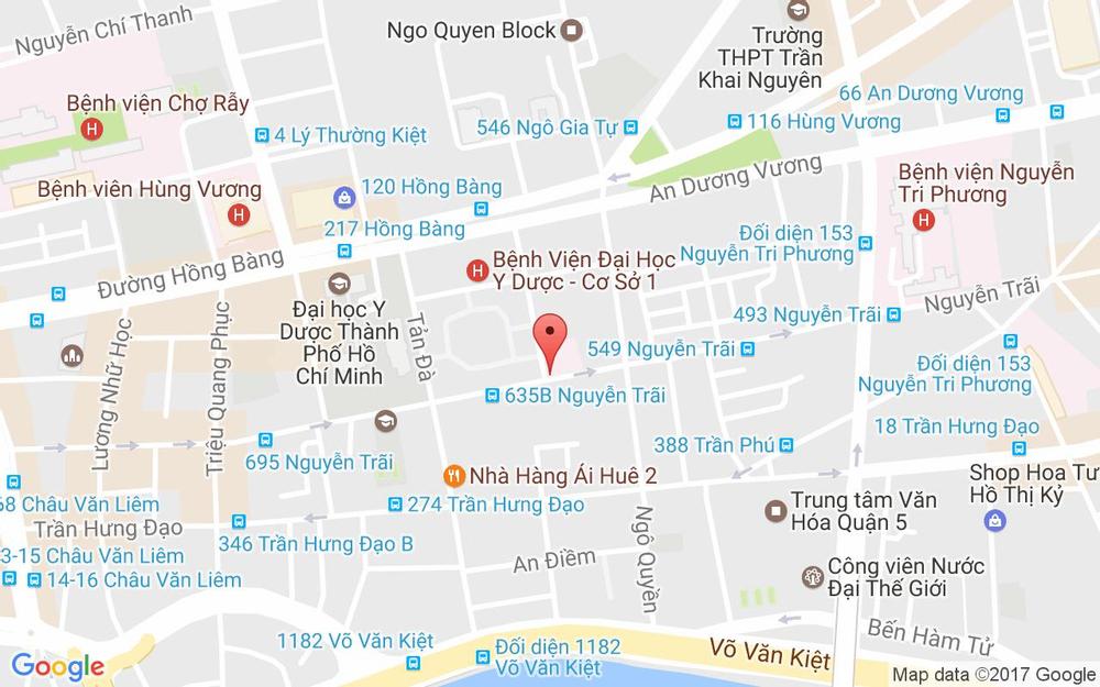 Vị trí bản đồ 627B Nguyễn Trãi, P. 11 Quận 5 TP. HCM