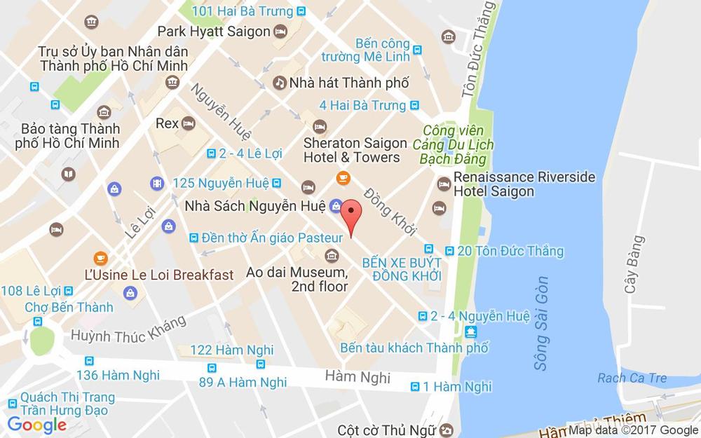 Vị trí bản đồ 22 - 36 Nguyễn Huệ Quận 1 TP. HCM