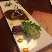 Foie grass with mixed green salad and sauces