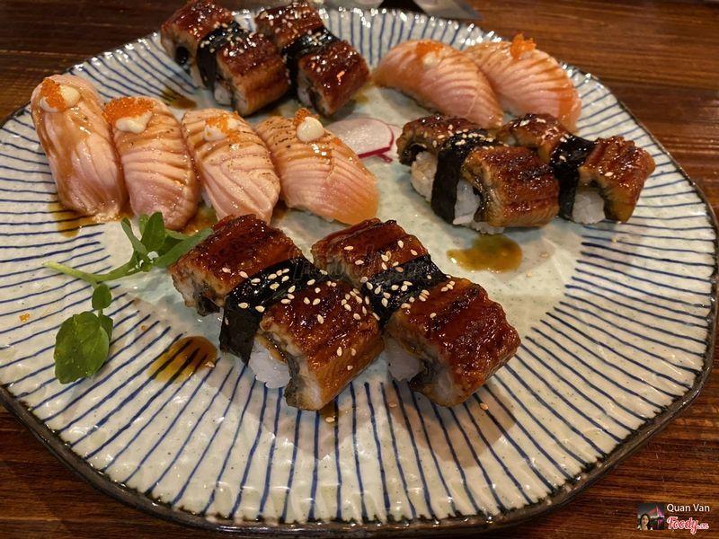 1. Unagi nigiri - 98k/2 pieces; 2. Sake harasu aburi - 58k/2 pieces