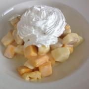 Fruit with yogurt and cream