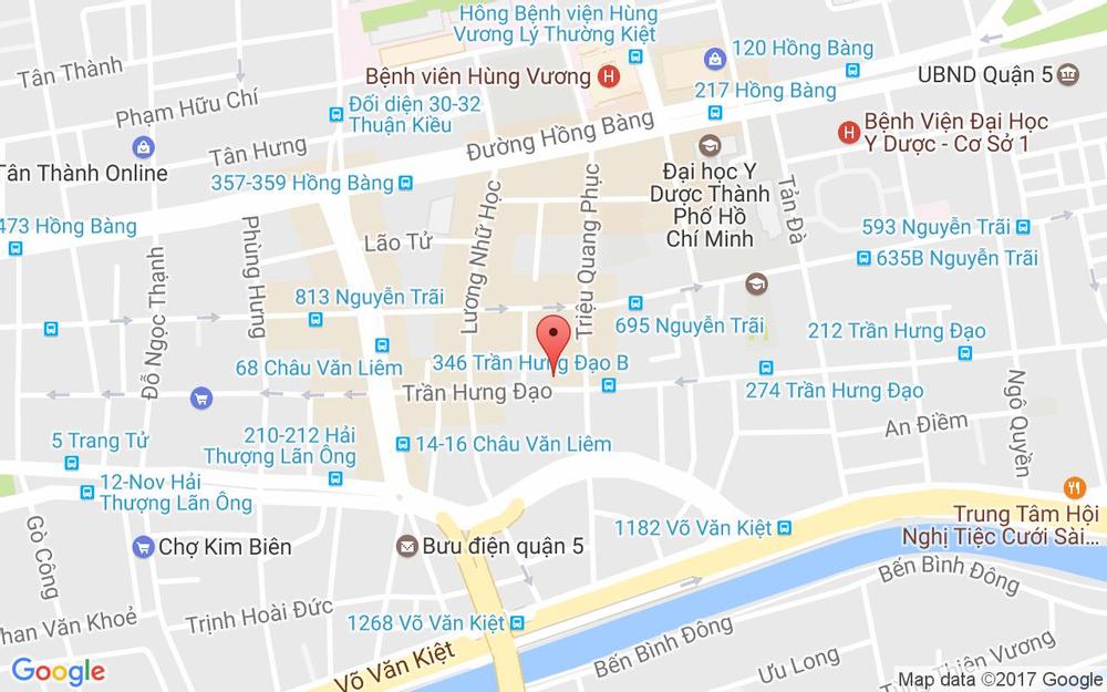 Vị trí bản đồ 380 Trần Hưng Đạo, P. 11 Quận 5 TP. HCM