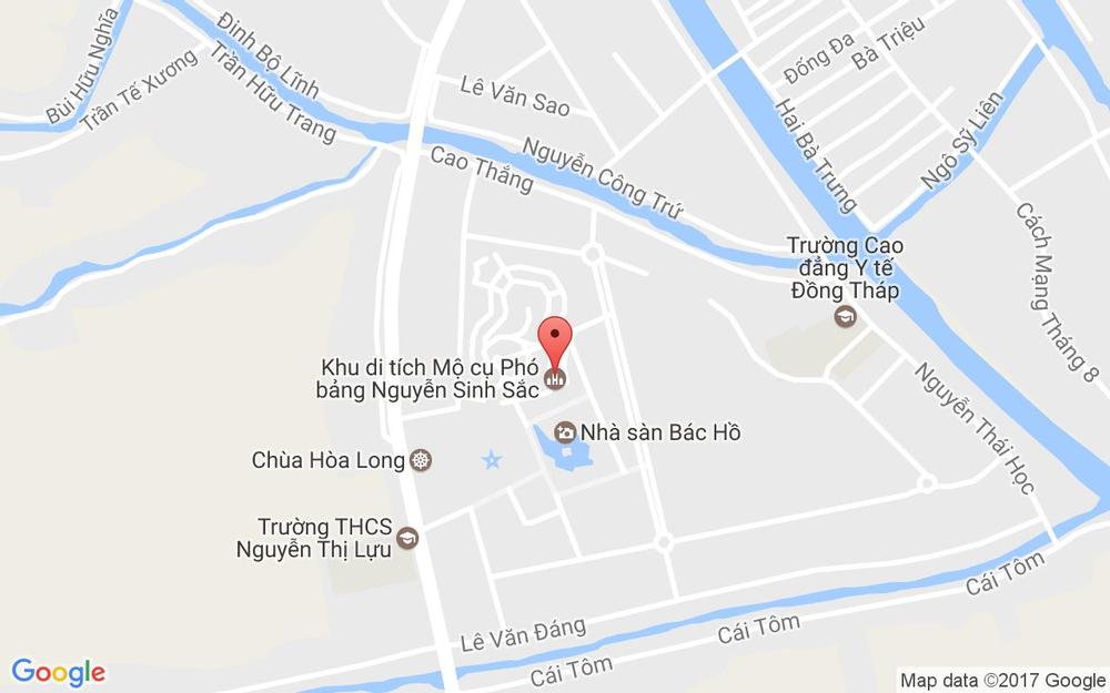 Vị trí bản đồ Khu Di Tích Cụ Phó Bảng Nguyễn Sinh Sắc ở Đồng Tháp
