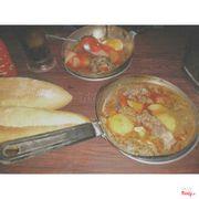 Bò kho + Ốp la xíu mại xúc xích