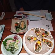 Sashimi bào ngư. Bào Ngư hấp sốt Su-miso. Hàu sống trứng cút
