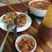 Kimchi Soup, Kimchi, and Fried Mantou.