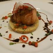 Cá Hồi nướng couscous Cơm Ả Rập và sốt tương
