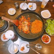 Dakgalbi + phomai + rice at bowl