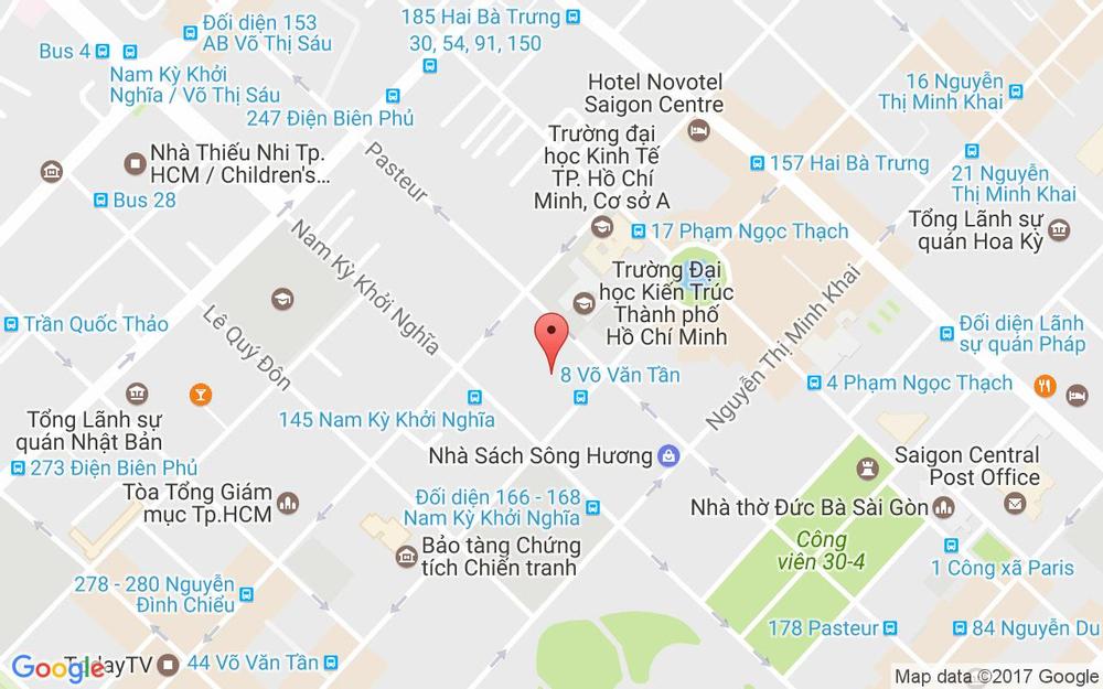 Vị trí bản đồ 8 Võ Văn Tần Quận 3 TP. HCM