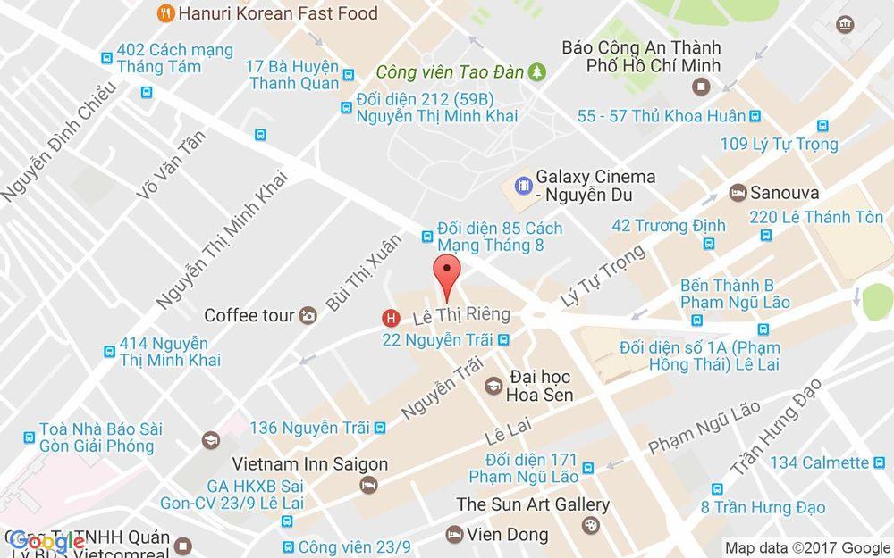 Vị trí bản đồ 56 Lê Thị Riêng, P. Bến Thành Quận 1 TP. HCM