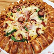 pizza vừa viền xúc xích 3 loại rau, xúc xích và thịt bacon