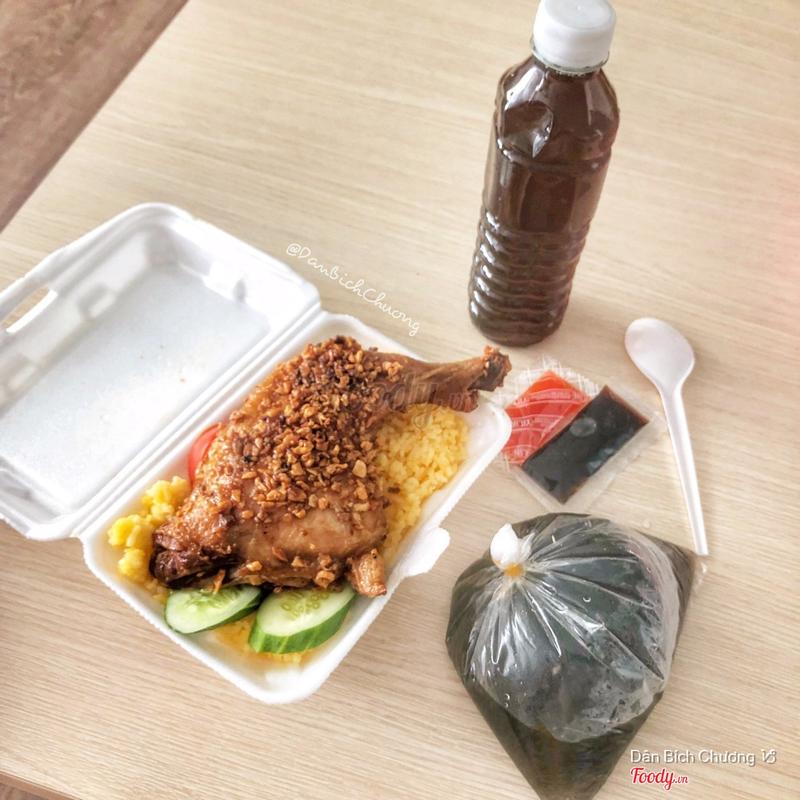 Combo cơm gà mắm tỏi + canh rong biển + nước sâm
