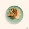 Grilled lemon & herb chicken with tortilla & greek salad